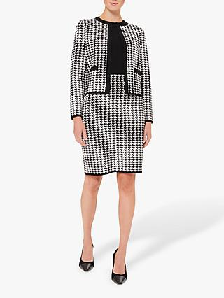 Hobbs Alena Houndstooth Tailored Jacket, Black/Ivory
