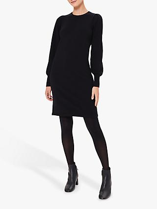 Hobbs Afia Wool Blend Knitted Dress, Navy