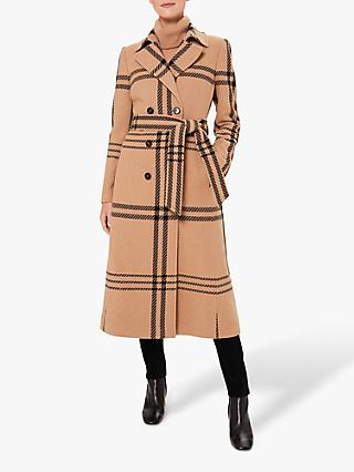 Hobbs Faye Wool Blend Check Wrap Coat, Camel/Black
