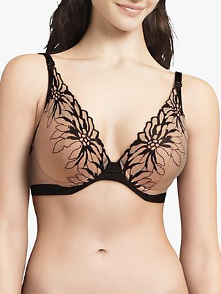 Chantelle Shadows Plunge T-Shirt Bra, Nude/Black