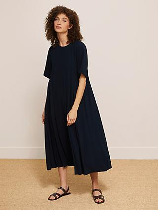 Modern Rarity Pleated Maxi Trapeze Dress, Navy