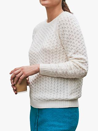 Pure Collection Cashmere Cable Knit Sweater, Soft White