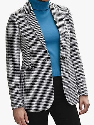 Pure Collection Dogtooth Ponte Blazer, Black