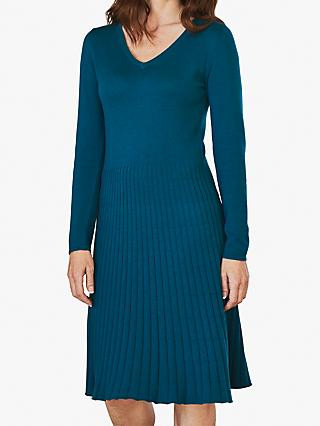Pure Collection Pleat Detail V Neck Knitted Dress, Dark Teal