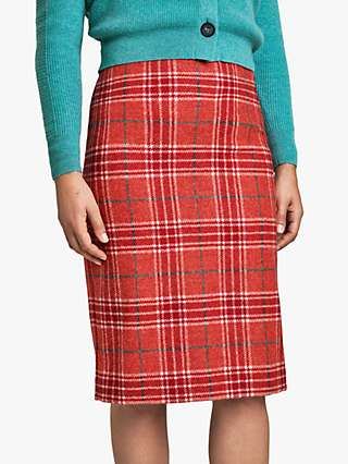 Pure Collection Wool Check Pencil Skirt, Red