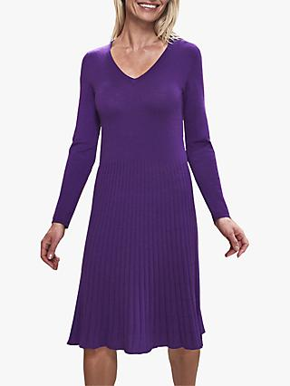 Pure Collection Pleat Detail V Neck Knitted Midi Dress, Royal Purple