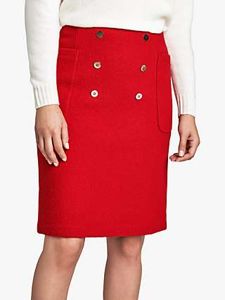 Pure Collection Button Front Mini Skirt, Red