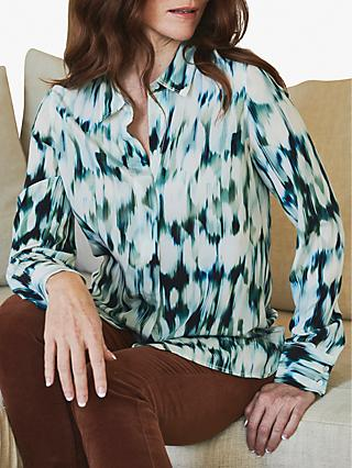 Pure Collection Relaxed Abstract Animal Print Silk Blouse, Blue