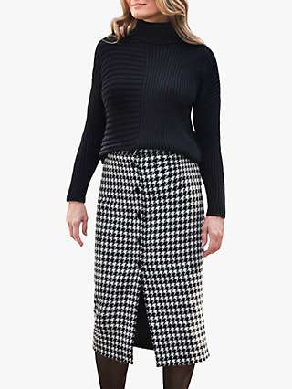 Pure Collection Check Wool Blend Midi Skirt, Black