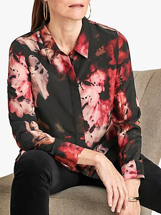 Pure Collection Relaxed Abstract Floral Silk Blouse, Dark Pink