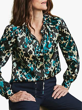 Pure Collection Abstract Print Silk Utility Blouse, Multi