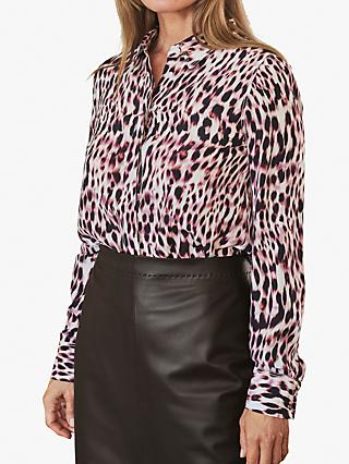 Pure Collection Relaxed Silk Leopard Print Blouse, Pink