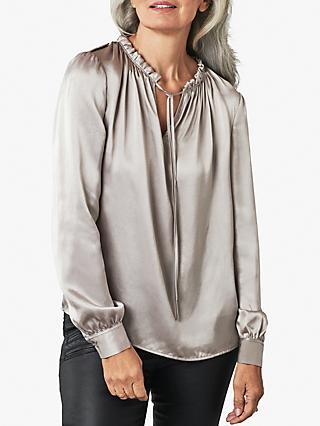 Pure Collection Silk Utility Blouse, Dark Silver