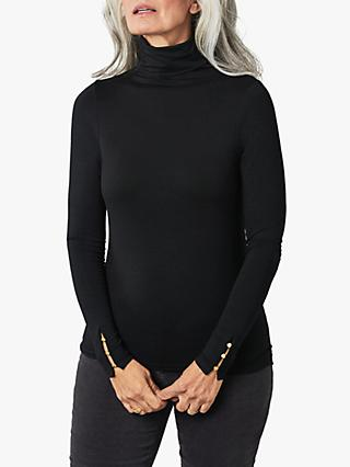 Pure Collection Button Cuff Roll Neck Jersey Top