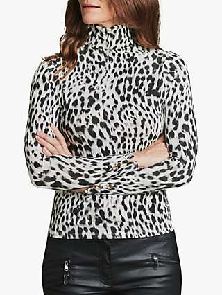 Pure Collection Button Cuff Roll Neck Printed Jersey Top, Grey/Leopard Print