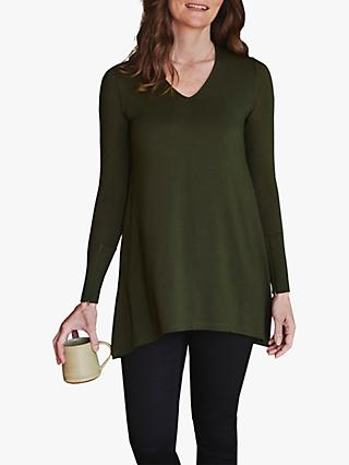 Pure Collection Zip Cuff Jersey Swing Top, Khaki