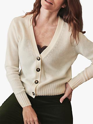 Pure Collection Organic Cashmere V-Neck Cardigan, Soft White