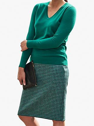 Pure Collection Cashmere V-Neck Sweater, Emerald