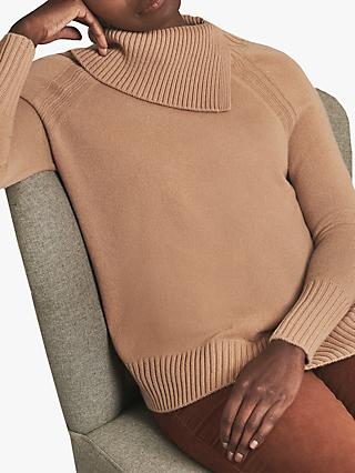 Pure Collection Cashmere Statement Neck Sweater, Caramel
