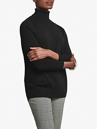 Pure Collection Cashmere Boyfriend Polo Jumper, Black