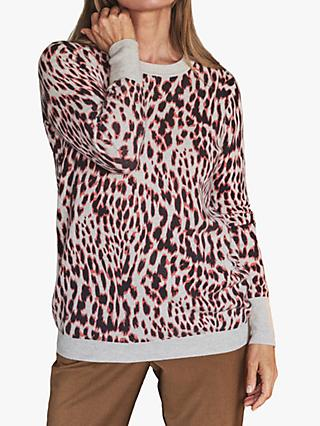 Pure Collection Cashmere Boyfriend Jumper, Pink/Multi