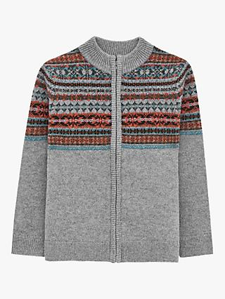 White Stuff Boys' Ingleton Fairisle Kniw Jumper, Dus Grey
