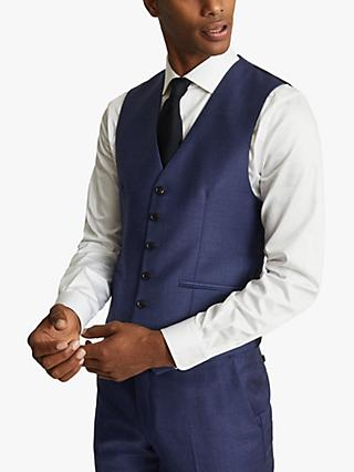 Reiss Christopher Wool Slim Fit Waistcoat, Electric Blue