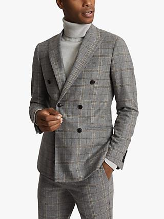 Reiss Camp Double Breasted Check Wool Suit Jacket, Grey
