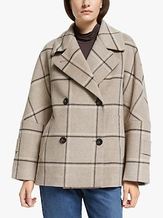 Weekend Max Mara Atalia Double Breasted Check Pea Coat, Sand
