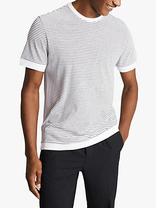 Reiss Banks Cotton Blend Stripe T-Shirt, White