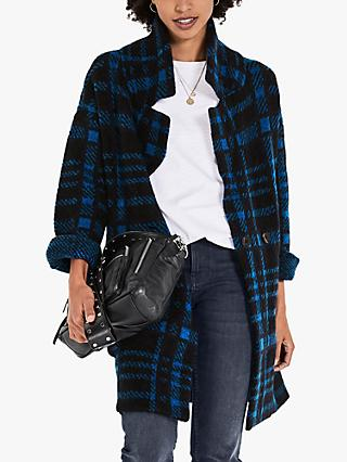 hush Fergie Check Coatigan, Midnight/Bright Blue