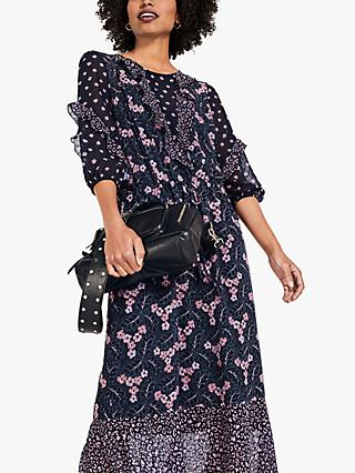 hush Celesta Floral Midi Dress, Blue/Multi