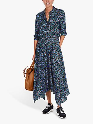 hush Kensington Petal Print Shirt Dress, Black/Green