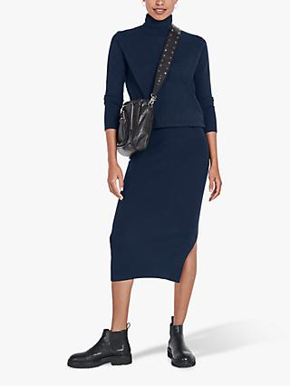 hush Roll Neck Knit Dress, Midnight