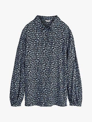 hush Cassian Leopard Print Shirt, Blue
