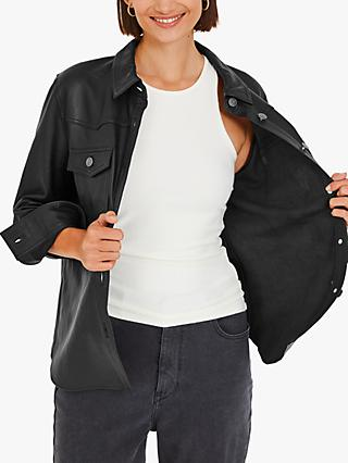 hush Leather Front Pocket Shirt, Black
