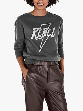 hush Rebel Organic Cotton Sweatshirt, Washed Black/Silver