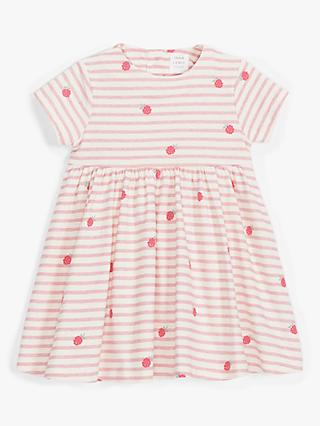 John Lewis & Partners Baby Organic Cotton Raspberry Stripe Print Dress, Pink