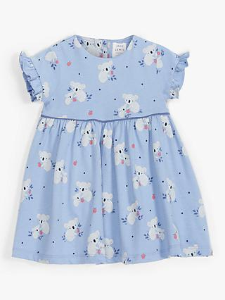 John Lewis & Partners Baby Organic Cotton Koala Print Dress, Blue