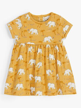 ANYDAY John Lewis & Partners Baby Organic Cotton Elephant Print Dress, Yellow