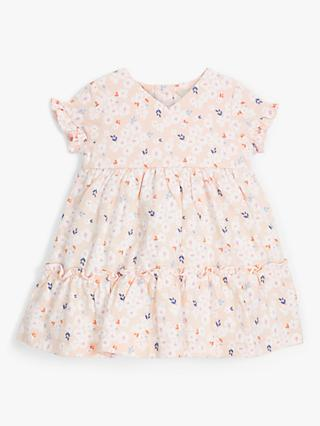 John Lewis & Partners Baby Ditsy Floral Tiered Dress, Pink