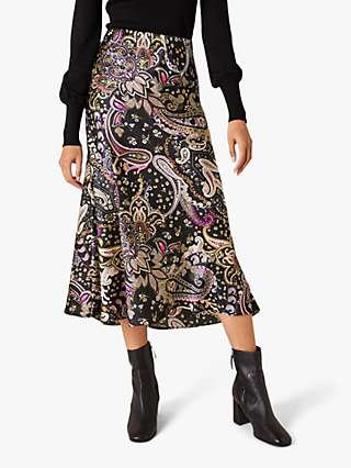 Monsoon Paisley Satin Midi Skirt, Black/Multi