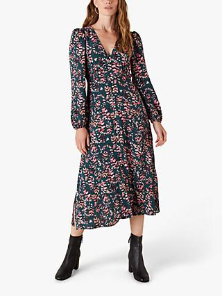 Monsoon Feather Print Tea Dress, Dark Green