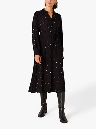 Monsoon Embroidered Spot Midi Shirt Dress, Black