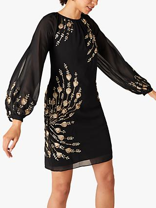 Monsoon Faye Embellished Tunic Dress, Black