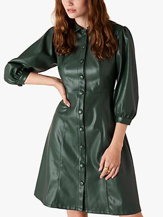 Monsoon Faux Leather Shirt Dress, Dark Green