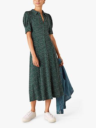 Monsoon Ditsy Print Shirt Dress, Green
