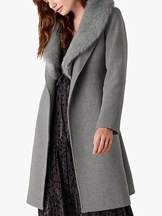 Monsoon Faux Fur Collar Coat, Grey