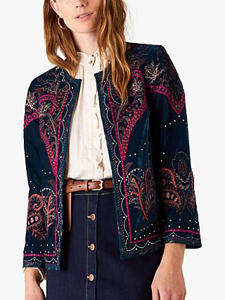Monsoon Velvet Embroidered Jacket, Teal