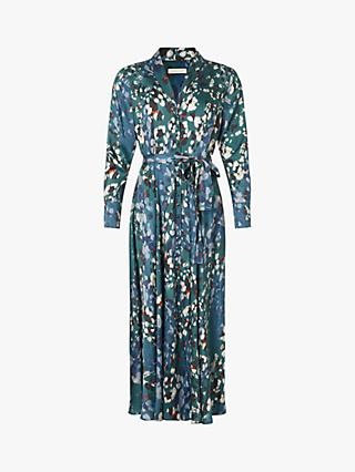 Monsoon Anu Print Maxi Shirt Dress, Green/Multi